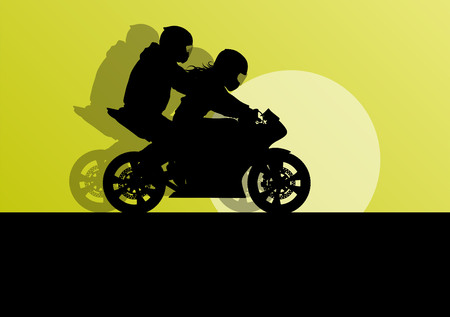 motorized sport: Motorcycle performance extreme stunt driver man and woman vector background concept