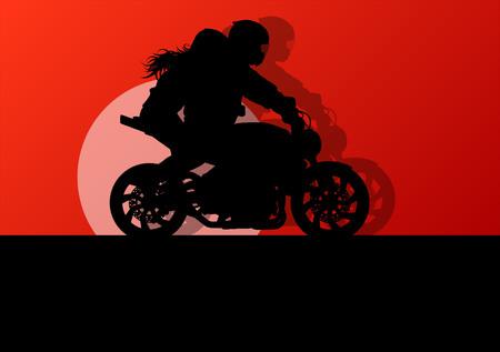motorrad frau: Motorcycle extreme Leistung Stuntfahrer Mann und Frau Vektor Hintergrund Konzept Illustration