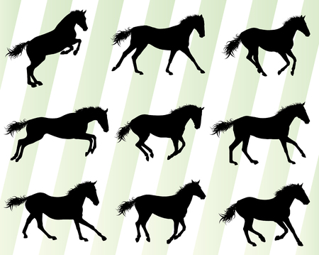 galloping: Wild horse fast and strong winner set concept vector background