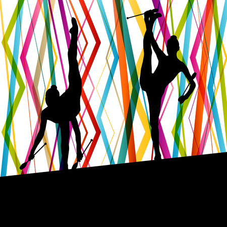 acrobat gymnast: Female woman modern rhythmic gymnastics art with Indian clubs vector abstract background concept