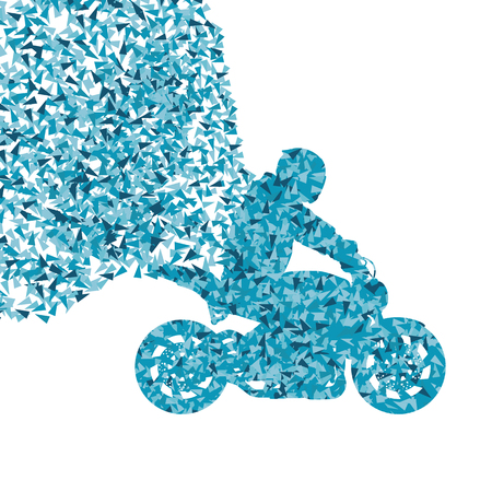 Stunt motorcycle rider performance vector background concept made of fragments isolated on white