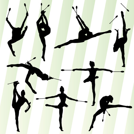 acrobat gymnast: Female woman modern rhythmic gymnastics art with Indian clubs vector set background concept