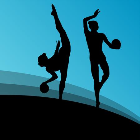 rhythmic: Rhythmic gymnast woman with ball vector abstract background concept