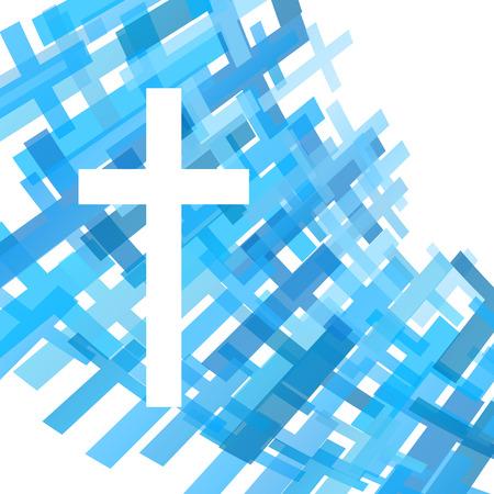 Kruis helder blauwe abstracte Christendom religie achtergrond vector illustratie begrip Stock Illustratie