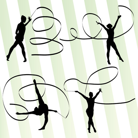 gymnastics: Woman with ribbon rhythmic gymnastics vector background set