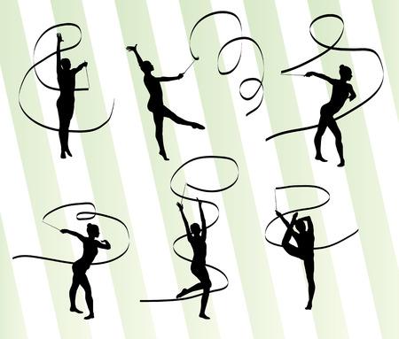 Woman with ribbon rhythmic gymnastics vector background set