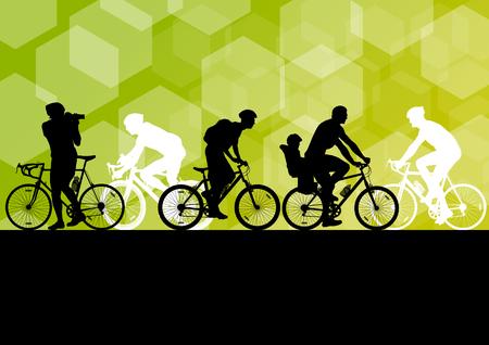 Los hombres activos ciclistas ciclistas en el resumen de deporte paisaje de fondo ilustración vectorial Foto de archivo - 49335659