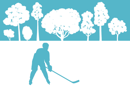 ice hockey player: Ice hockey player in winter landscape vector background concept Illustration