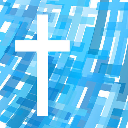 question: Cross clear blue abstract Christianity religion background vector illustration concept
