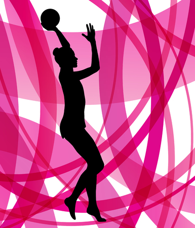gymnastics: Rhythmic gymnast woman with ball vector abstract background concept