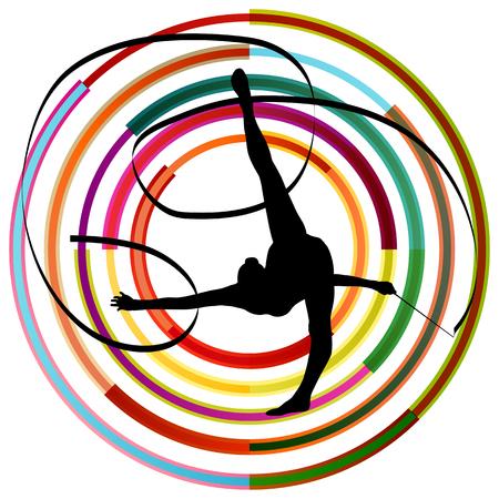 gimnasia ritmica: Silueta de la gimnasia de arte niña gimnasta con la cinta abstracta de colores de fondo vector de concepto Vectores