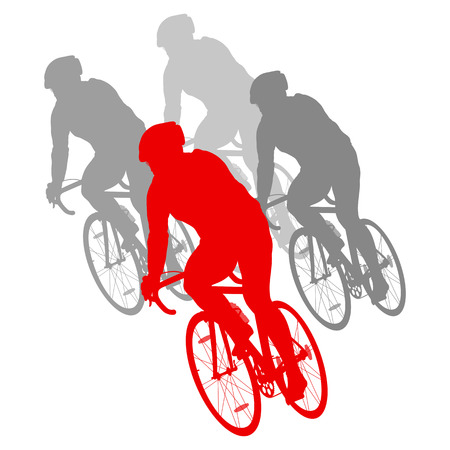 cyclist silhouette: Cycling cyclist bike silhouette group athletes vector background winner concept detailed illustration isolated over white