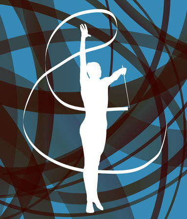 gimnasia ritmica: Silueta de la gimnasia de arte ni�a gimnasta con la cinta abstracta de colores de fondo vector de concepto Vectores