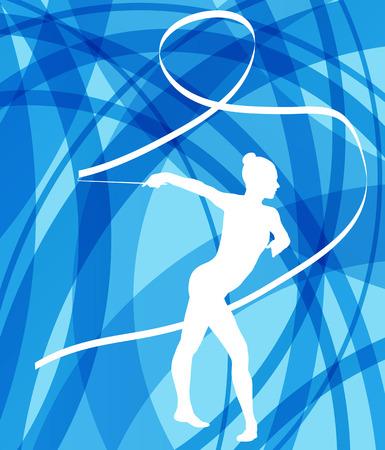 gimnasia: Silueta de la gimnasia de arte ni�a gimnasta con la cinta abstracta de colores de fondo vector de concepto Vectores