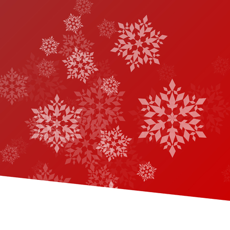 froze: Winter background white snowflakes falling Christmas and New Year vector abstract illustration red card, banner