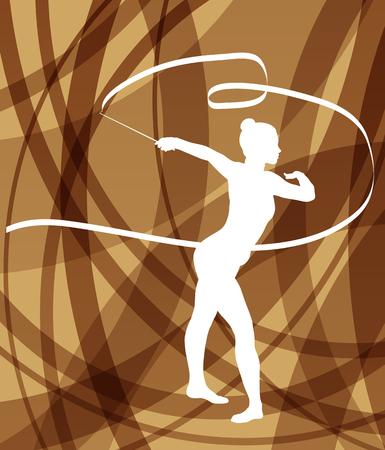 gimnasia: Silueta de la gimnasia de arte niña gimnasta con la cinta abstracta de colores de fondo vector de concepto Vectores