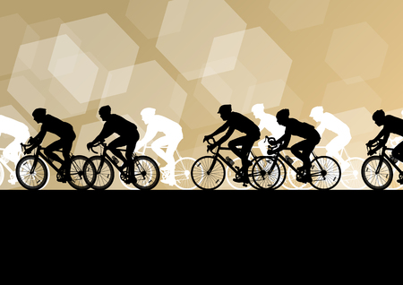 cyclist silhouette: Active men cyclists bicycle riders in abstract sport landscape background illustration vector