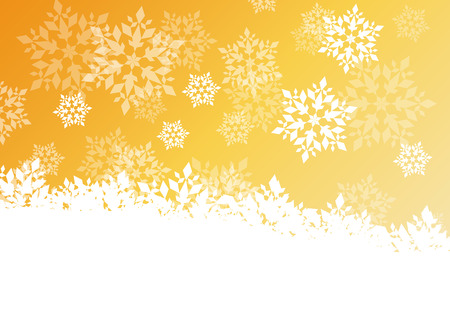froze: Winter background white snowflakes falling Christmas and New Year vector abstract illustration golden card, banner