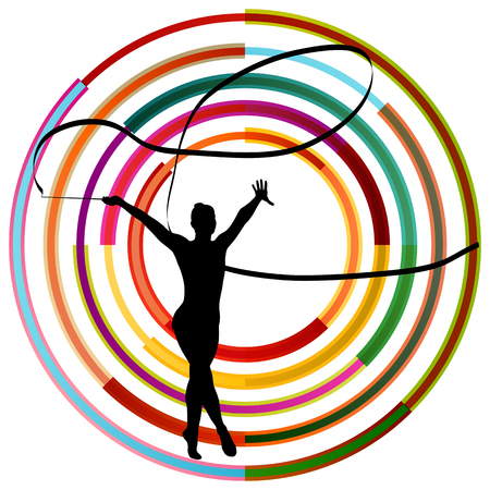 acrobat gymnast: Silhouette of gymnast girl art gymnastics with ribbon abstract colorful background concept vector Illustration