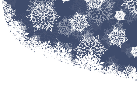 froze: Winter night background white snowflakes falling Christmas and New Year vector abstract illustration card, banner
