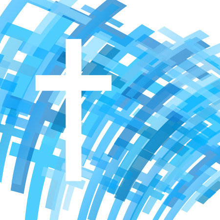 Cross clear blue abstract Christianity religion background vector illustration concept