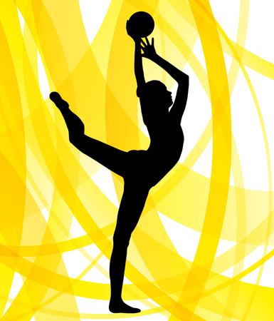 Mujer gimnasta rítmica con la bola de vectores resumen del concepto del fondo Foto de archivo - 49336571