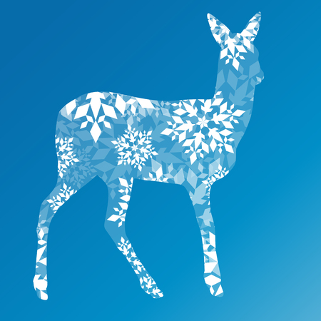 doe: Doe deer made of snowflakes winter concept abstract blue Happy New Year and Merry Christmas background vector Illustration