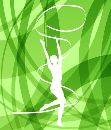 personas saltando: Silueta de la gimnasia de arte niña gimnasta con la cinta abstracta de colores de fondo vector de concepto Vectores