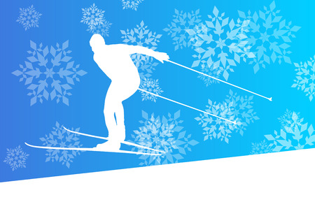 groomed: Man skiing athlete skier skiing extreme winter background concept with snowflakes falling Illustration