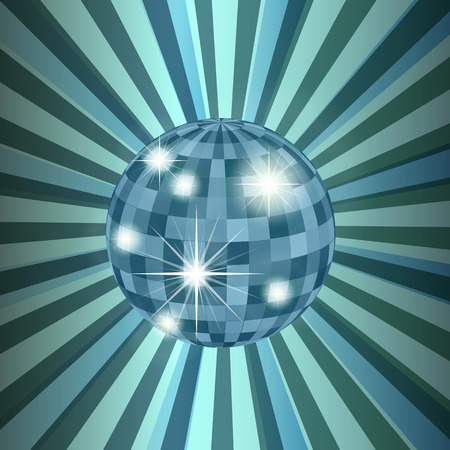 disco background: Disco ball abstract vector background with burst rays Illustration