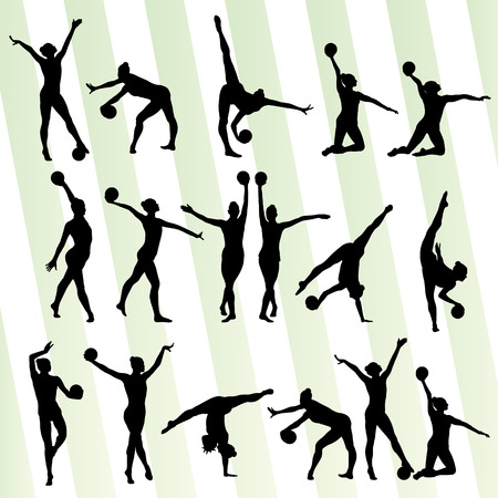 artistic: Art gymnastics with balls vector background set