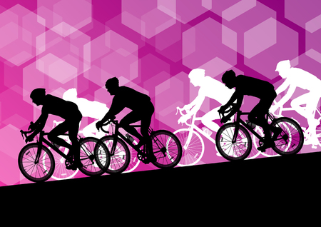 biking: Active men cyclists bicycle riders in abstract sport landscape background illustration vector