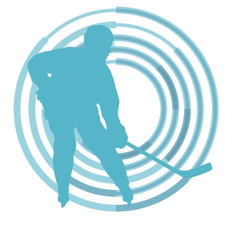hockey sobre cesped: jugador de hockey sobre hielo en invierno vector de fondo concepto Vectores