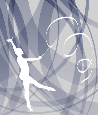 gymnastik: Silhouette Gymnastm�dchens Kunstgymnastik mit Band abstrakten bunten Hintergrund Konzept vektor