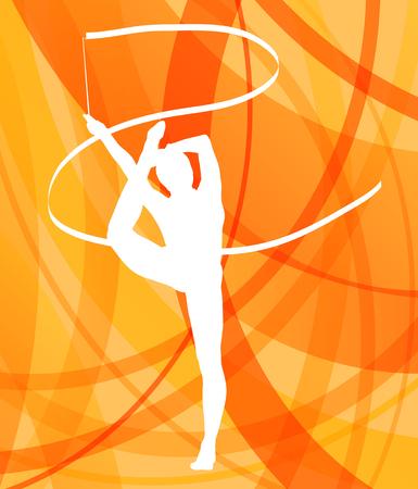 gymnastique: Silhouette de jeune fille gymnaste gymnastique d'art avec un ruban color� concept abstrait vecteur Illustration