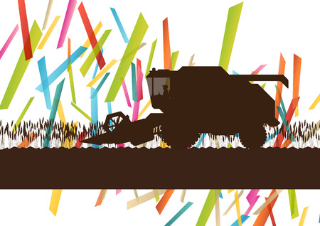 metal cutting: Agriculture machinery farm harvester tractor combines vector illustration in farming landscape abstract background concept