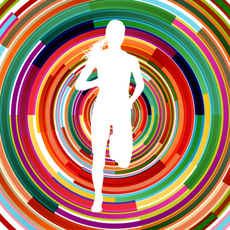 Runner woman silhouette over abstract background vector concept illustration