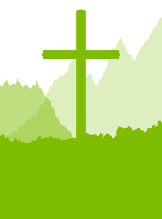 christianity: Green cross landscape ecology background vector abstract Christianity concept