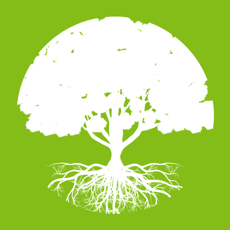 abstract tree: Tree of life vector background abstract ecology concept round shape stylized tree with roots made by imagination