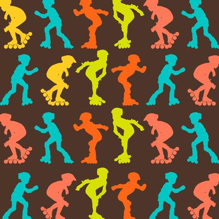 roller skating: Roller skating pattern vector background concept wallpaper