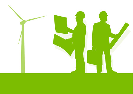 power generator: Engineer technician green energy wind turbine power generator station background vector concept Illustration