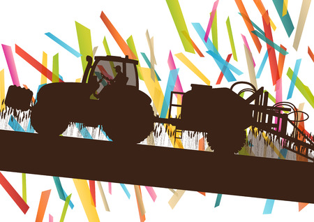farming: Agriculture machinery farm tractor vector illustration in farming landscape abstract background concept