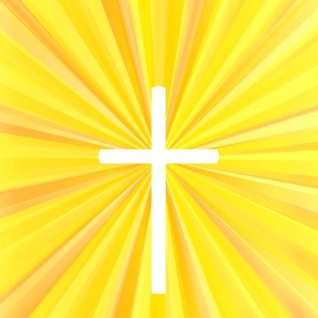 Cross with bright burst background vector abstract Christianity concept Illustration