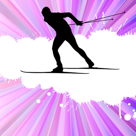 resorts: Cross country skiing man vector background concept illustration