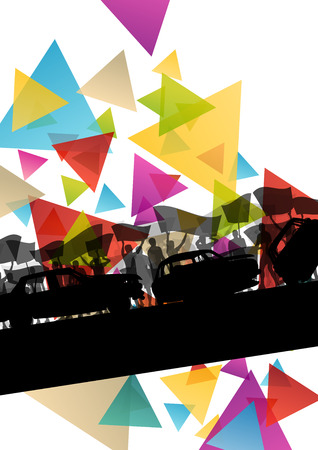 People silhouettes of cheering or protesting man and women with banners and signs in abstract vector background illustration