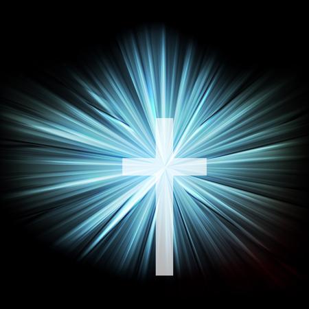cristianismo: Cruz con la explosión brillante sobre fondo oscuro vector abstracto concepto de cristianismo