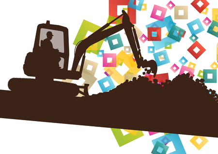 digger: Construction site excavator and digger tractor bulldozer in building site abstract vector background illustration vector Illustration
