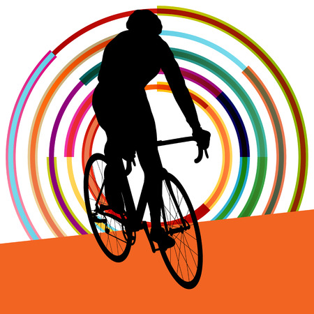 adolescence: Cyclist in action vector abstract background illustration colorful winner concept