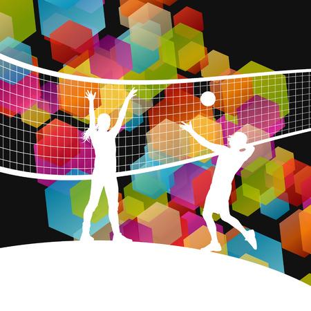 pelota de voley: Siluetas del jugador de voleibol en el deporte abstracta del fondo del vector Vectores