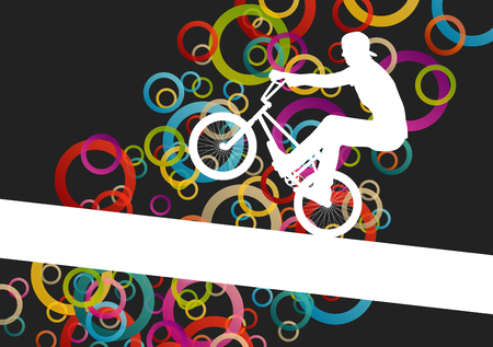 rad: Children extreme cyclist young and active people sport silhouettes vector background illustration